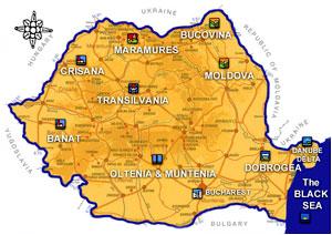Romania-map Romanian language